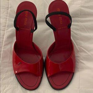 Miu Miu Red Patent Leather Glossy Heel Sandals